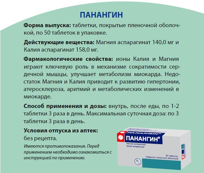 Лекарство панангин инструкция по применению