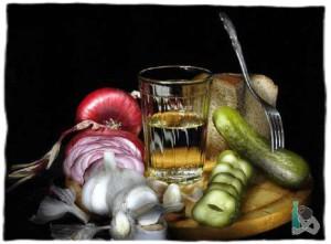Стакан водки и закуска