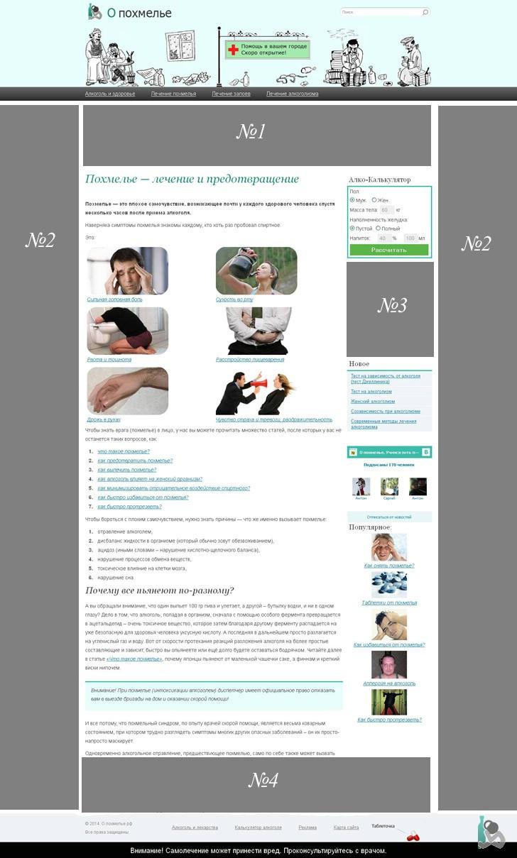 Рекламные позиции на сайте о похмелье