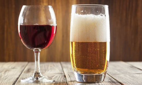 Что калорийнее пиво или вино красное полусладкое
