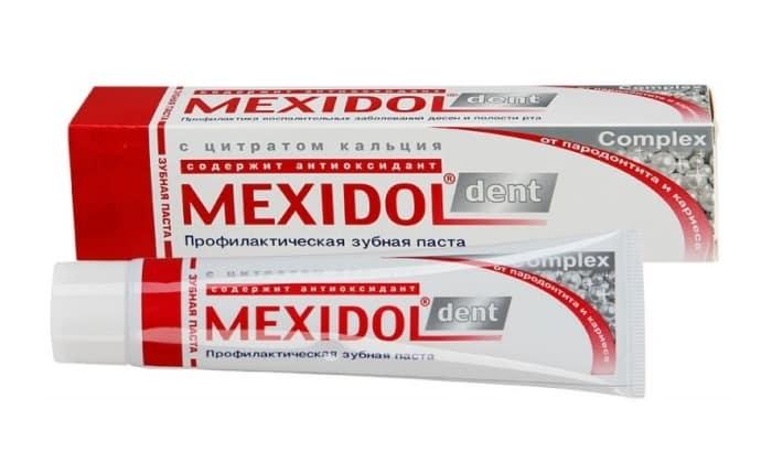 В состав средства Дент Комплекс входит цитрат кальция, восстанавливающий и укрепляющий поврежденную зубную эмаль