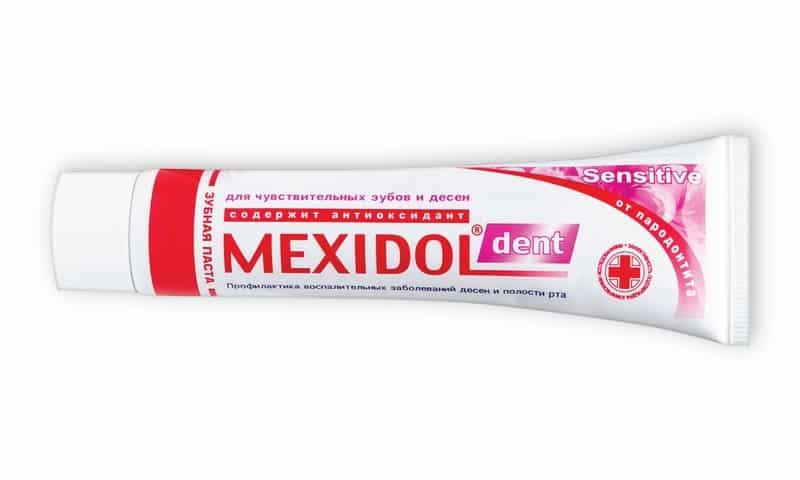 Средство Дент Сенситив, имеющее приятный мятный вкус и аромат, кроме Мексидола, содержит ксилитол и нитрат калия - азотнокислый калий
